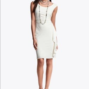 WHBM Ruched Cascading Ruffle Dress